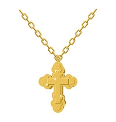 Golden cross necklace on chain of gold jewelry vector
