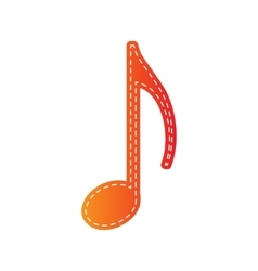 Music note sign orange applique isolated vector