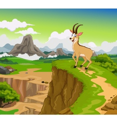 Funny chamois cartoon with beauty cliff mountain l vector