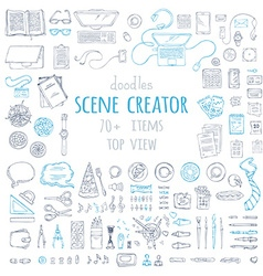 Set of doodles work place gadgets and stationery vector