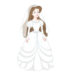 Beautiful brunette bride gentle princess in white vector