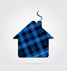 Blue black tartan icon - house with chimney vector