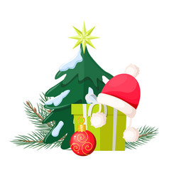 Christmas tree near present box and santa cap vector