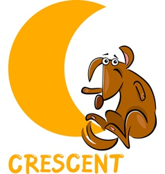 crescent shape with cartoon dog vector image vector image