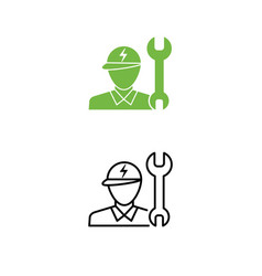 electric car technician support icon technician vector image