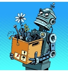 Evil robot comes to work vector image