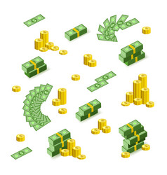 flat cash money pile golden coins vector image