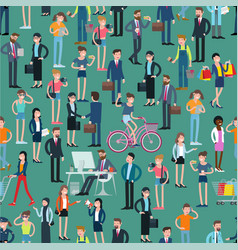 flat design people seamless pattern vector image