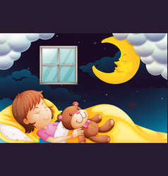 Girl sleeping at nighttime vector