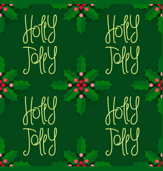 holly jolly christmas decoration vector image vector image