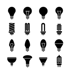 Light bulb and led lamp icons vector