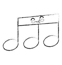 musical note cartoon smiley vector image