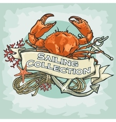 Nautical Label with sample text Sailing vector image vector image