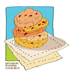 Oatmeal raisin cookies vector
