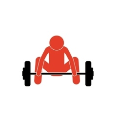 Pictogram colorful with man weightlifting down vector