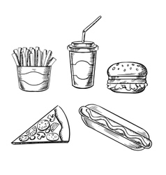 Pizza burger french fries hot dog and soda vector