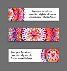 Set horizontal banners with colorful vector