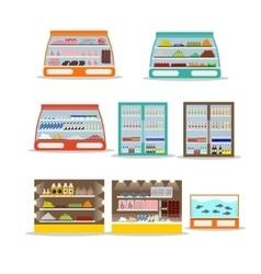 set of store shelf Supermarket shop vector image