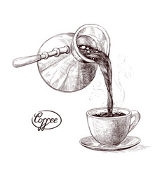 sketch of fresh brewed hot and vector image