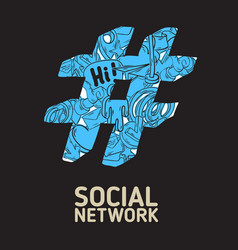 social network hashtag poster design with isolated vector image