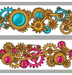 Steampunk seamless pattern of metal gears in vector image