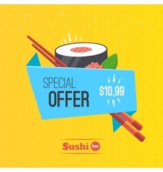 Sushi origami banner vector