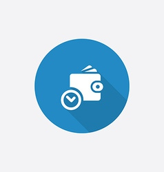 time is money wallet with watch icon Flat Blue vector image vector image