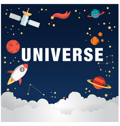 Universe background with space mars stars rocket v vector