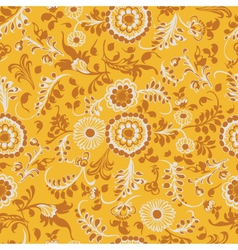 Vintage seamless floral pattern yellow vector