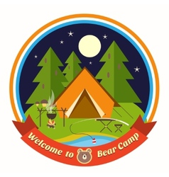 Welcome To Bear Camp badge vector image vector image