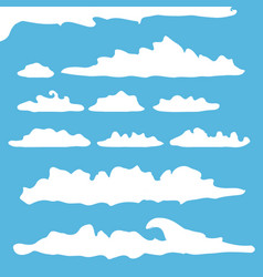 White summer clouds set isolated on blue vector