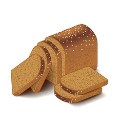 Whole grain sliced bread isolated on white vector image vector image