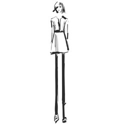 woman in a dress fashion models sketch vector image vector image