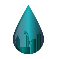 Oil refinery in water drop icon vector