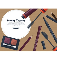 Set of female cosmetics for the eyes on a table vector