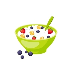 Muesli with berry and milk based product vector