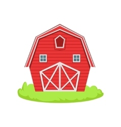 Red Wooden Barn Cartoon Farm Related Element On vector image