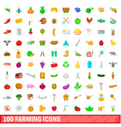100 farming icons set cartoon style vector
