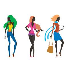 Fashion look girl silhouette beautiful girl woman vector