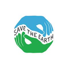 Save the earth earth day concept logo design vector