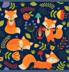 seamless pattern fox on purple background vector image