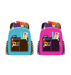 Blue and pink schoolbags vector