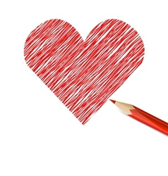 Red heart drawn with pencil vector