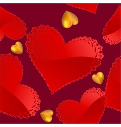Valentines day pattern with red and gold hearts vector image