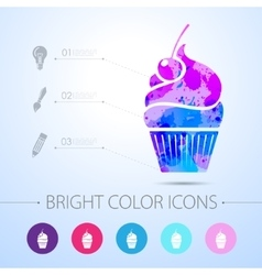 Cupcake with cherry icon with infographic vector