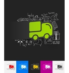 Delivery paper sticker with hand drawn elements vector