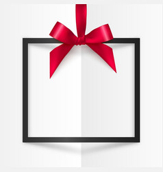 Black gift box frame with red silky bow and ribbon vector
