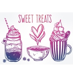 Tasty drinks set in vintage style vector