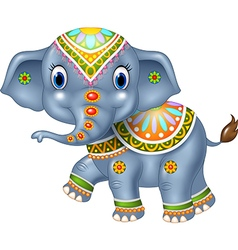 Cartoon funny elephant with indian classic vector
