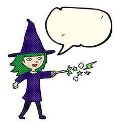 Cartoon witch girl casting spell with speech vector